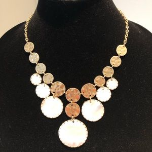 BOUTIQUE Jewelry - Genuine Shell & Hammered Gold Dangle Necklace